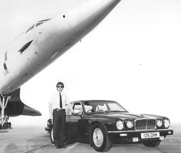 Kirkham Chauffeur Service Jaguar with company founder in front of Concorde